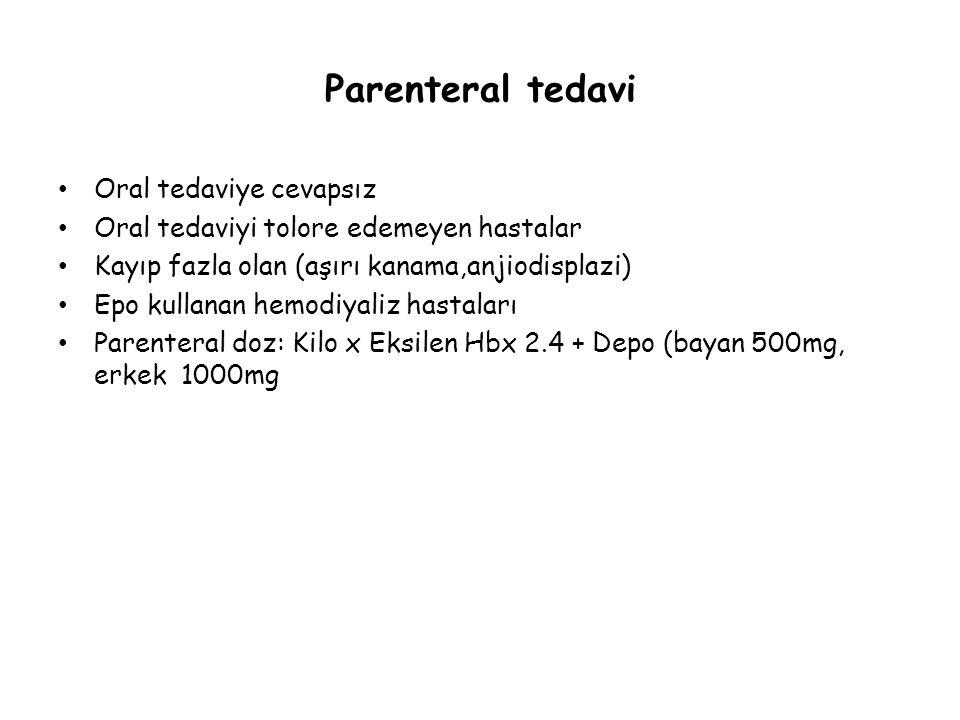 Parenteral tedavi Oral tedaviye cevapsız