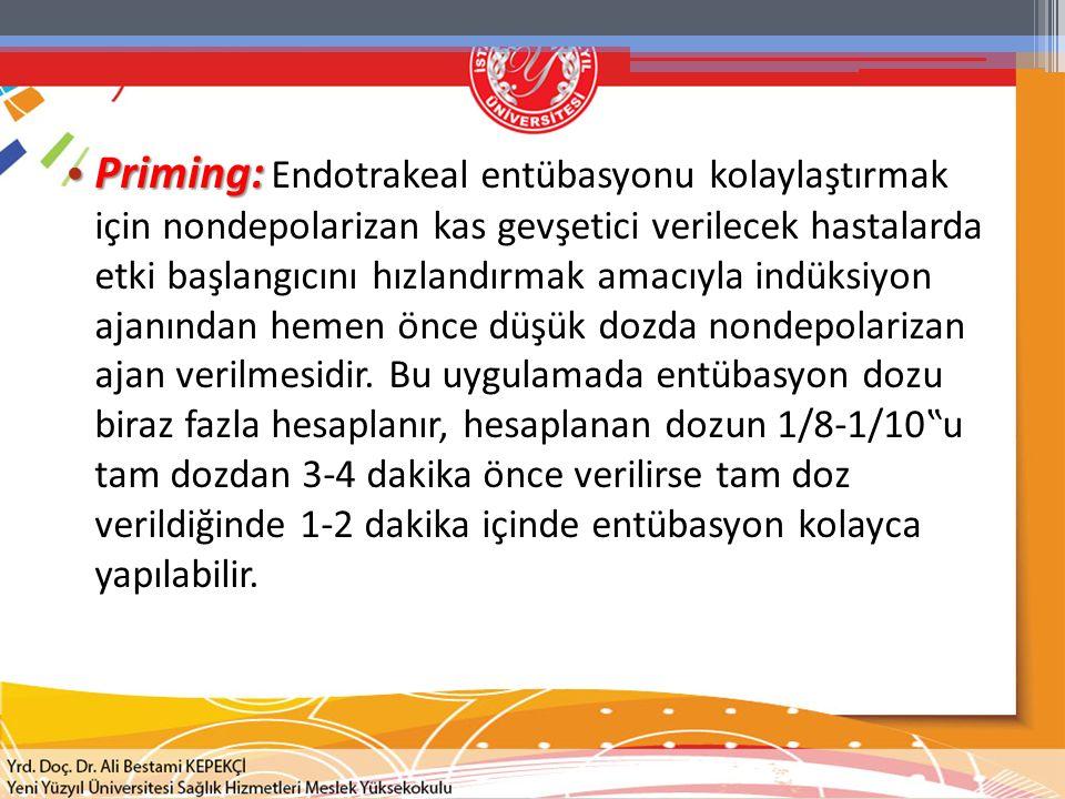 Priming: Endotrakeal entübasyonu kolaylaştırmak için nondepolarizan kas gevşetici verilecek hastalarda etki başlangıcını hızlandırmak amacıyla indüksiyon ajanından hemen önce düşük dozda nondepolarizan ajan verilmesidir.