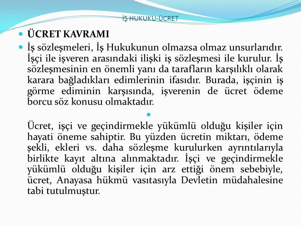 İŞ HUKUKU-ÜCRET ÜCRET KAVRAMI.