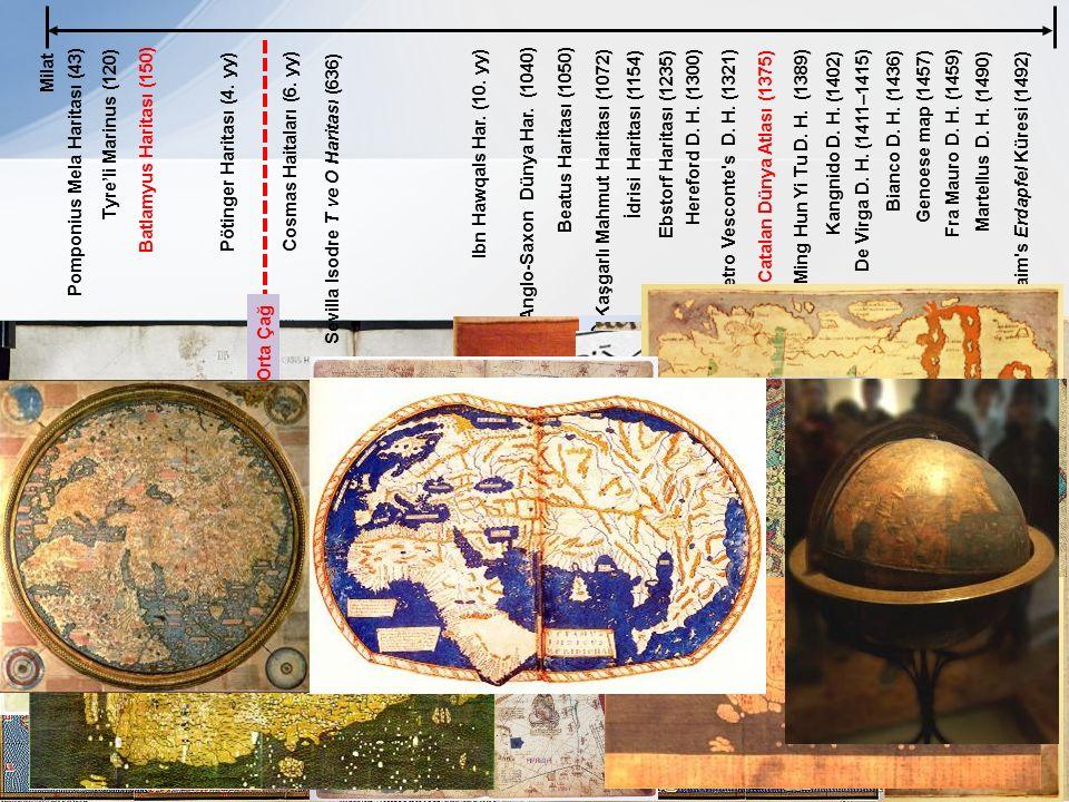 Milat Tyre'li Marinus (120) Bianco D. H. (1436) Beatus Haritası (1050) İdrisi Haritası (1154) Hereford D. H. (1300)