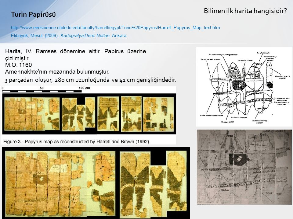 Bilinen ilk harita hangisidir Turin Papirüsü