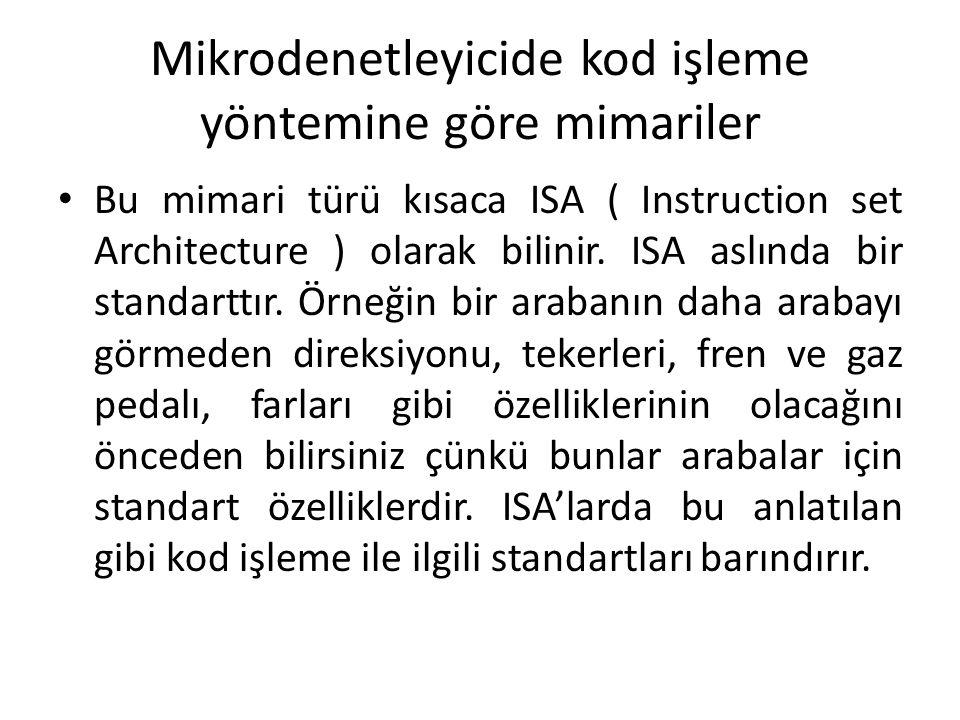 Mikrodenetleyicide kod işleme yöntemine göre mimariler