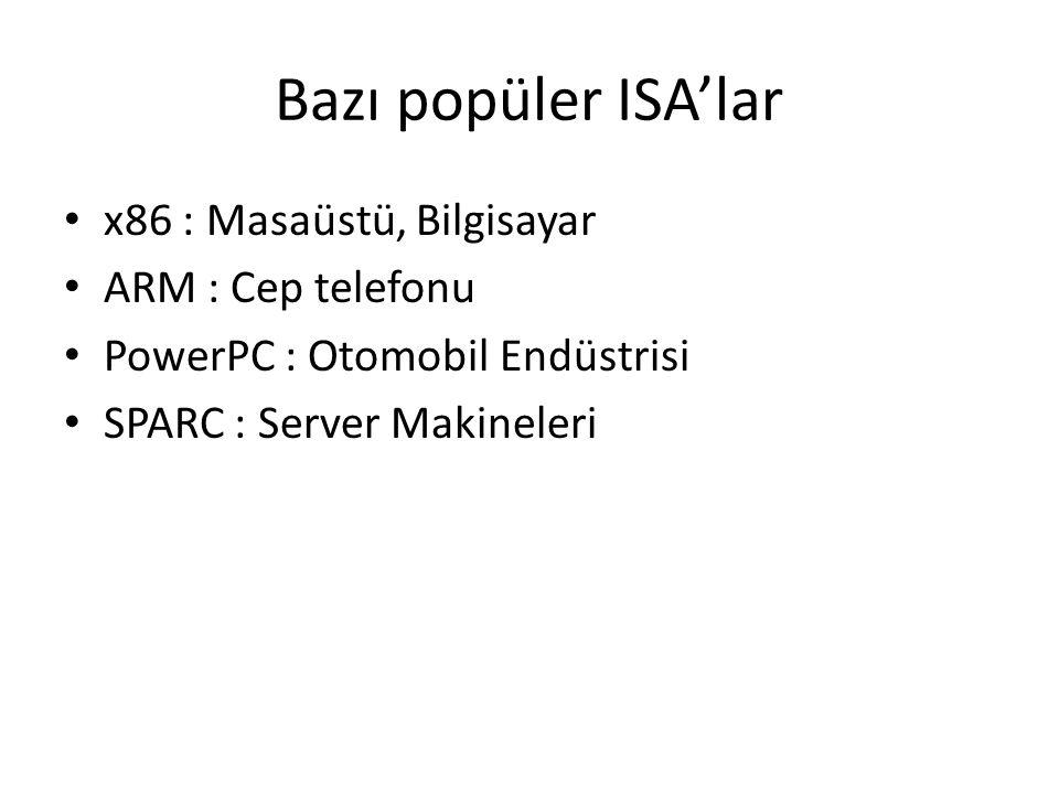 Bazı popüler ISA'lar x86 : Masaüstü, Bilgisayar ARM : Cep telefonu