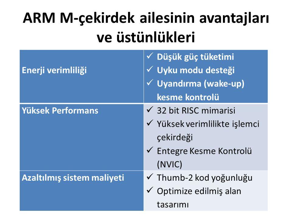 ARM M-çekirdek ailesinin avantajları ve üstünlükleri