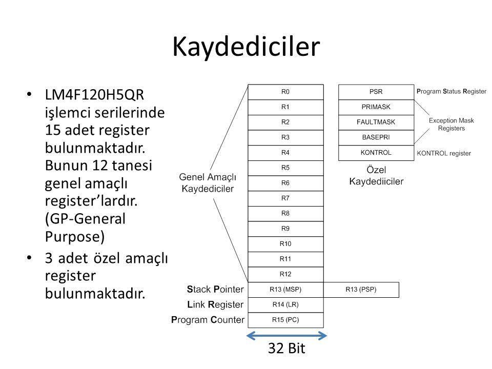 Kaydediciler LM4F120H5QR işlemci serilerinde 15 adet register bulunmaktadır. Bunun 12 tanesi genel amaçlı register'lardır. (GP-General Purpose)