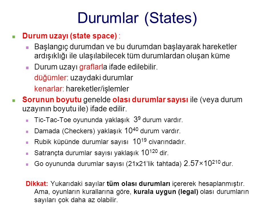Durumlar (States) Durum uzayı (state space) :