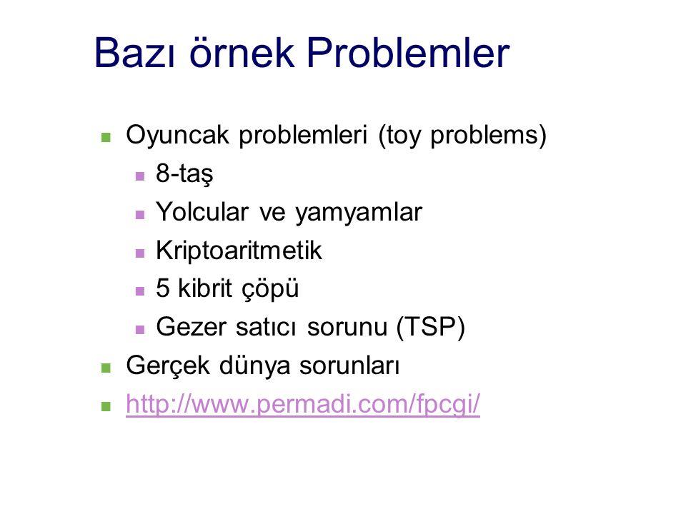 Bazı örnek Problemler Oyuncak problemleri (toy problems) 8-taş