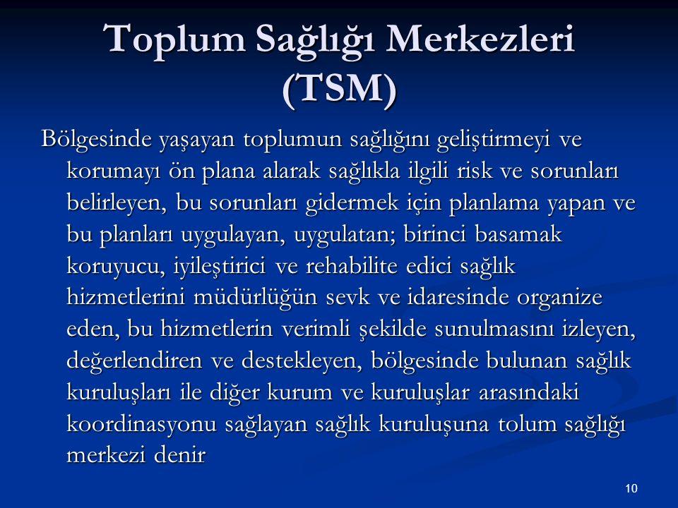 Toplum Sağlığı Merkezleri (TSM)