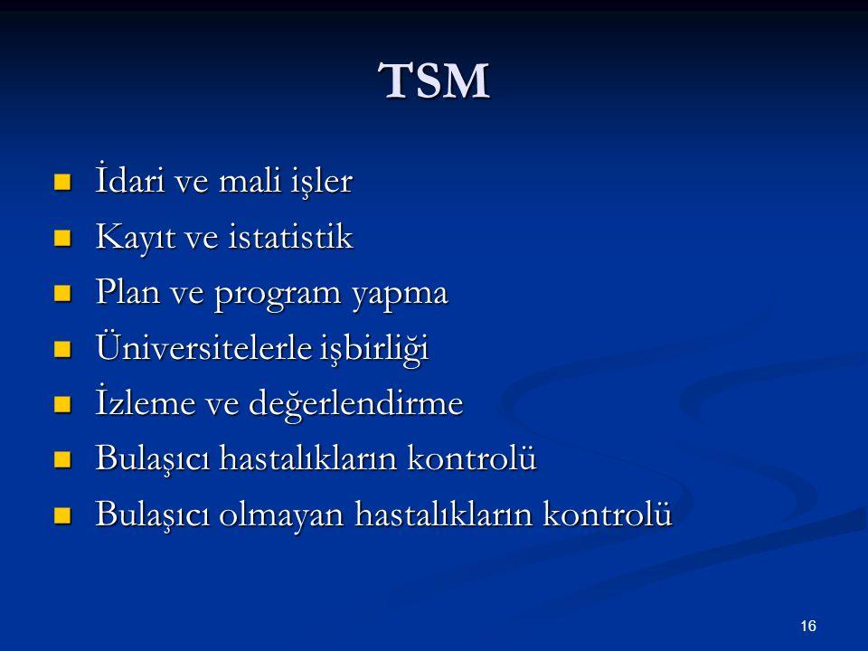 TSM İdari ve mali işler Kayıt ve istatistik Plan ve program yapma