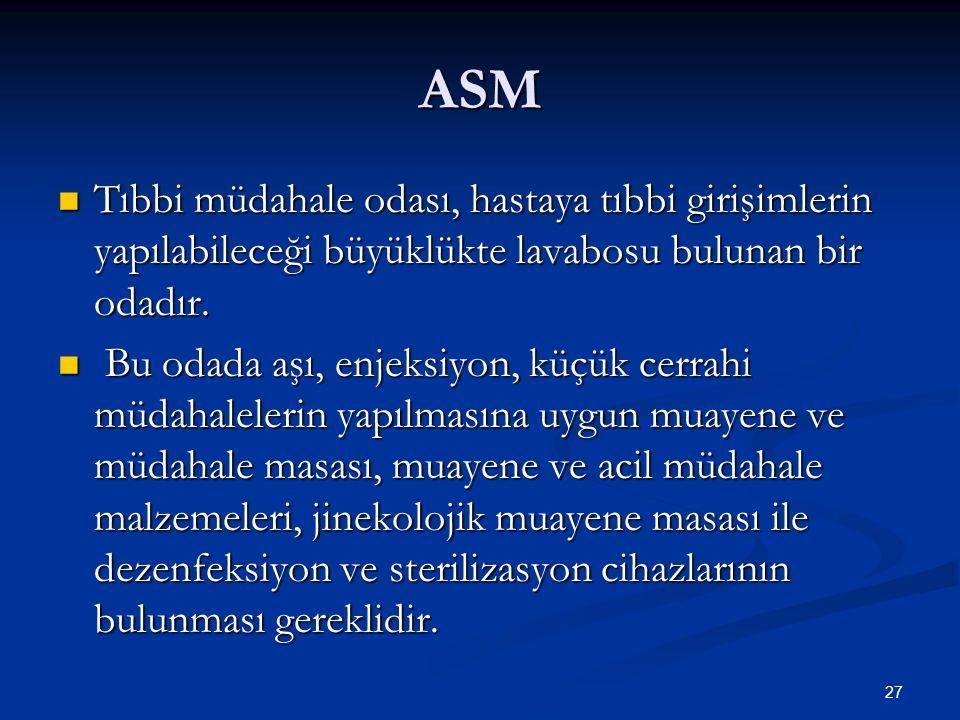 ASM Tıbbi müdahale odası, hastaya tıbbi girişimlerin yapılabileceği büyüklükte lavabosu bulunan bir odadır.