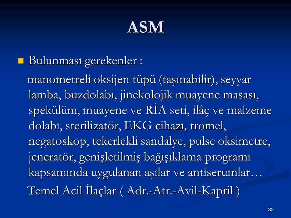 ASM Bulunması gerekenler :