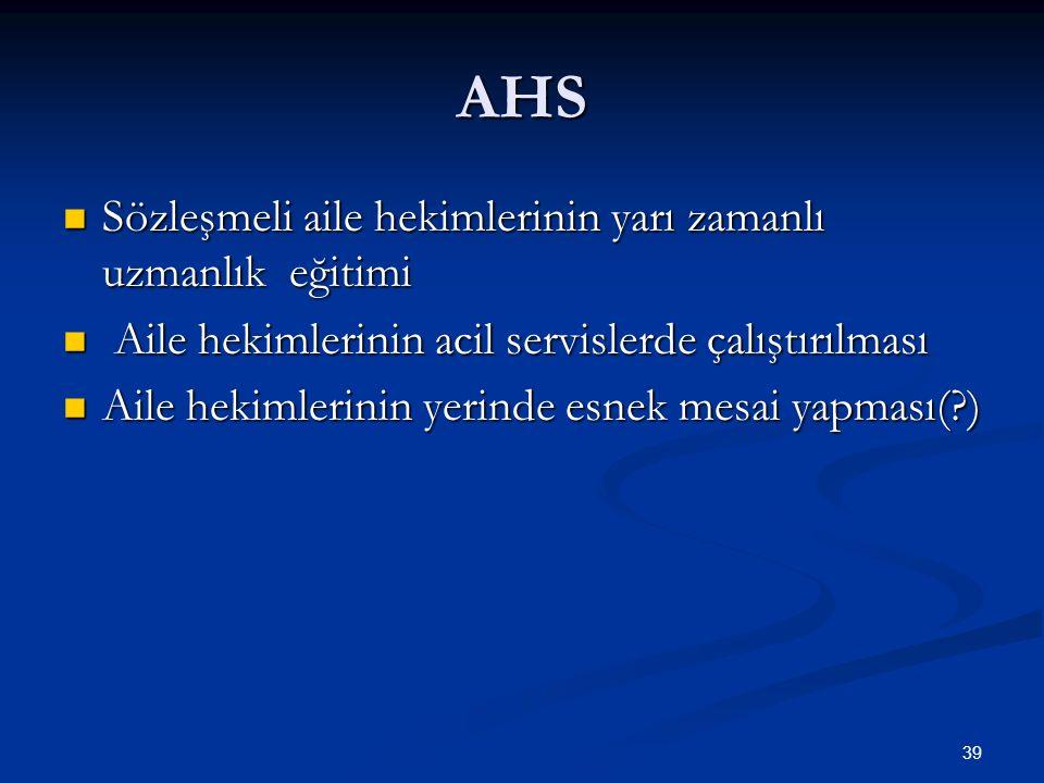 AHS Sözleşmeli aile hekimlerinin yarı zamanlı uzmanlık eğitimi