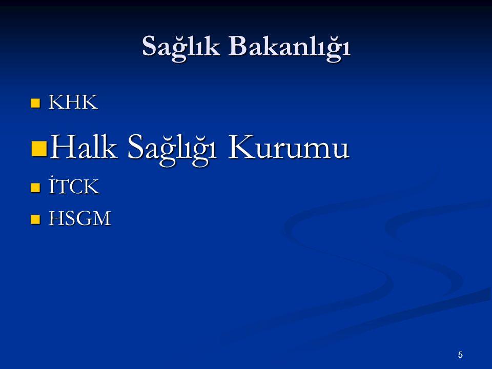 Sağlık Bakanlığı KHK Halk Sağlığı Kurumu İTCK HSGM