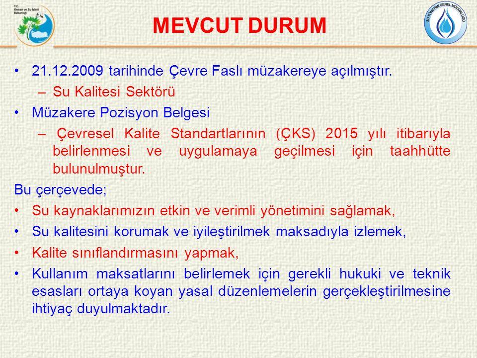 MEVCUT DURUM 21.12.2009 tarihinde Çevre Faslı müzakereye açılmıştır.