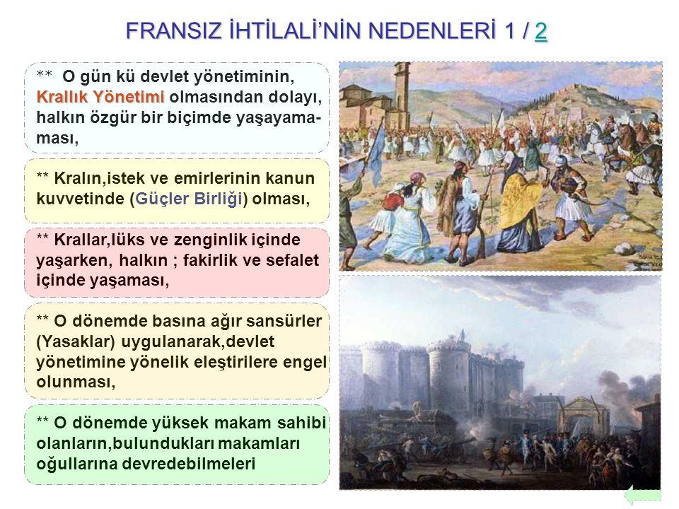 FRANSIZ İHTİLALİ'NİN NEDENLERİ 1 / 2