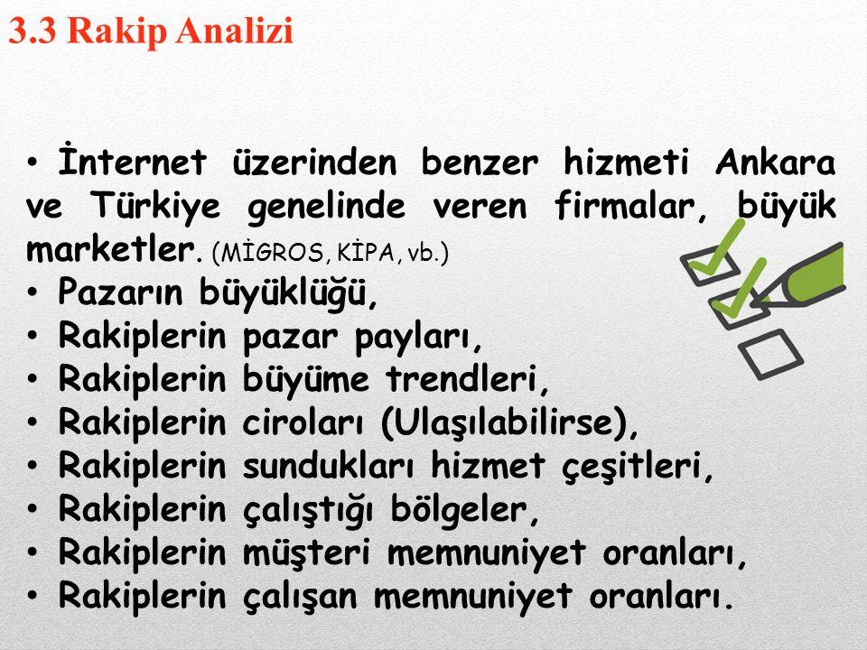 3.3 Rakip Analizi İnternet üzerinden benzer hizmeti Ankara ve Türkiye genelinde veren firmalar, büyük marketler. (MİGROS, KİPA, vb.)
