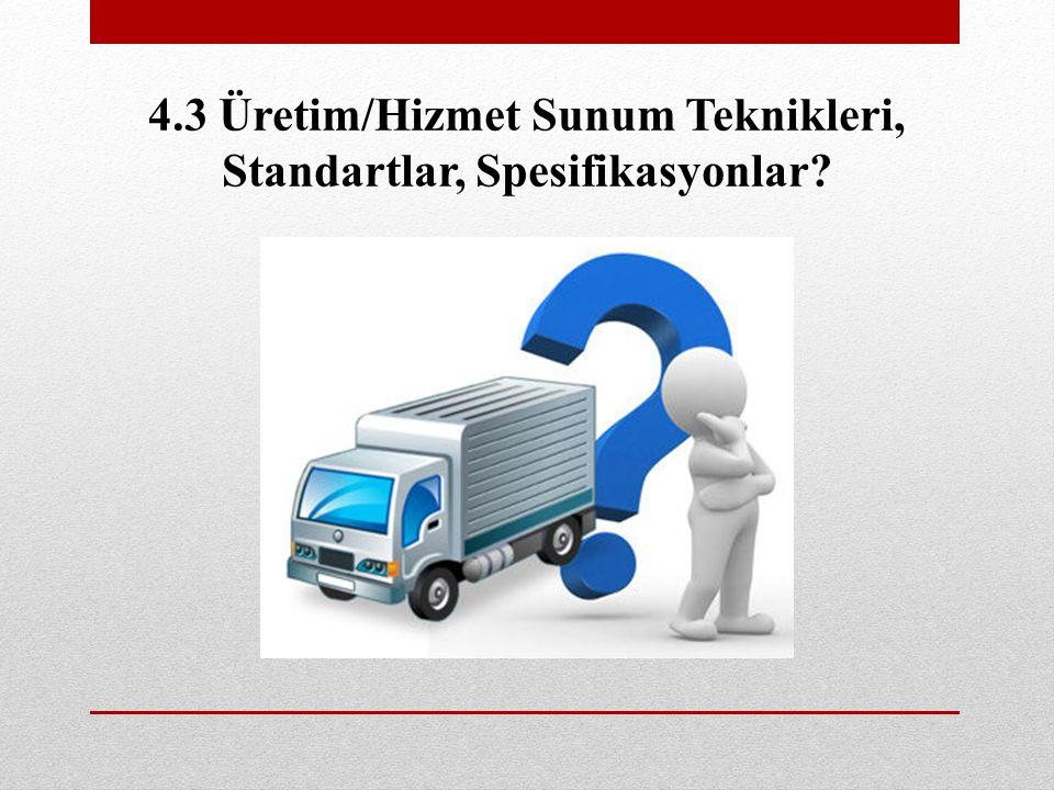 4.3 Üretim/Hizmet Sunum Teknikleri, Standartlar, Spesifikasyonlar