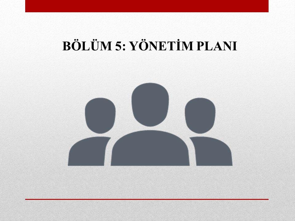 BÖLÜM 5: YÖNETİM PLANI
