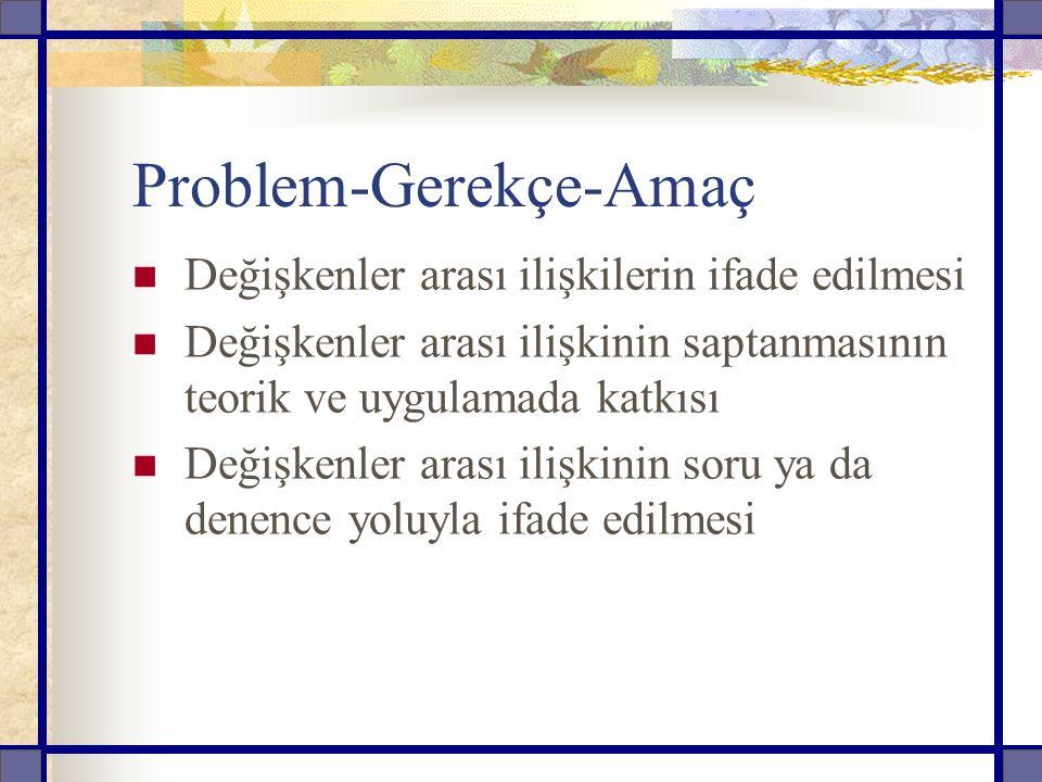 Problem-Gerekçe-Amaç