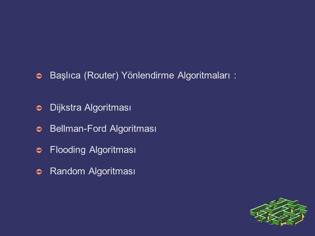 Başlıca (Router) Yönlendirme Algoritmaları :
