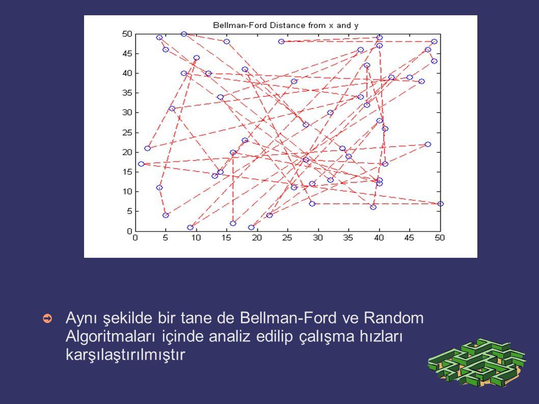 Aynı şekilde bir tane de Bellman-Ford ve Random Algoritmaları içinde analiz edilip çalışma hızları karşılaştırılmıştır