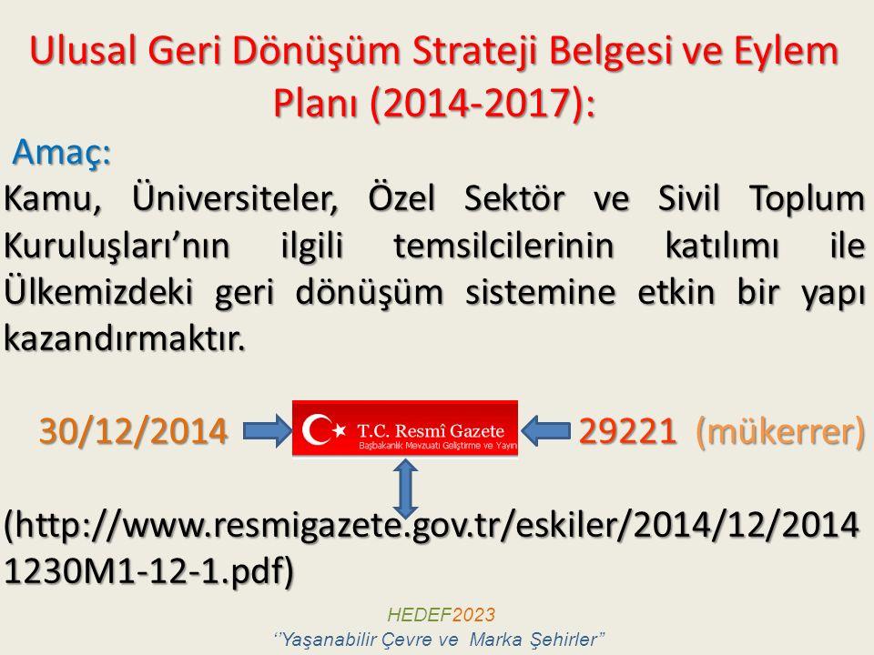Ulusal Geri Dönüşüm Strateji Belgesi ve Eylem Planı (2014-2017):