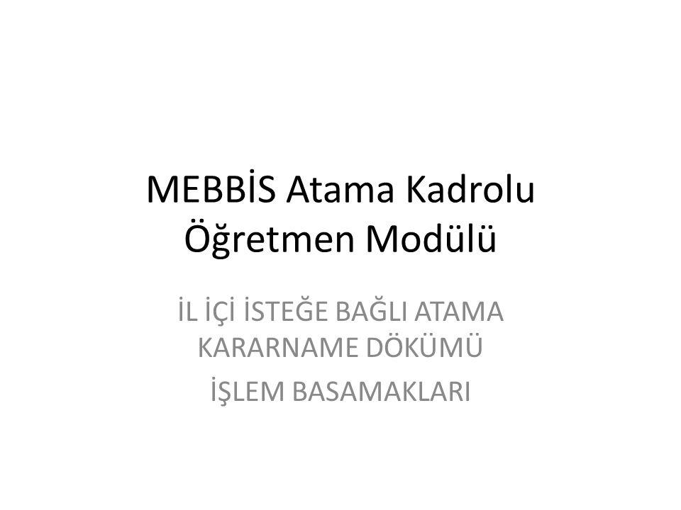 MEBBİS Atama Kadrolu Öğretmen Modülü