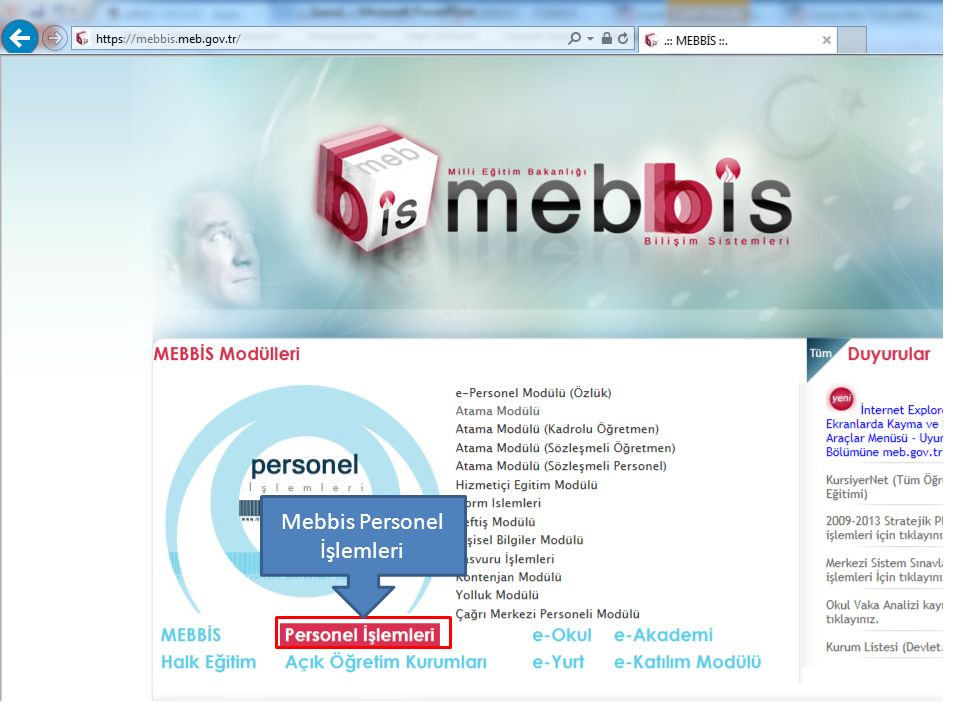 Mebbis Personel İşlemleri