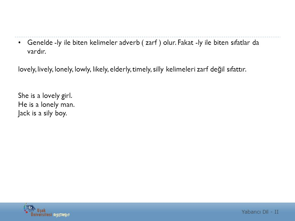 Genelde -ly ile biten kelimeler adverb ( zarf ) olur