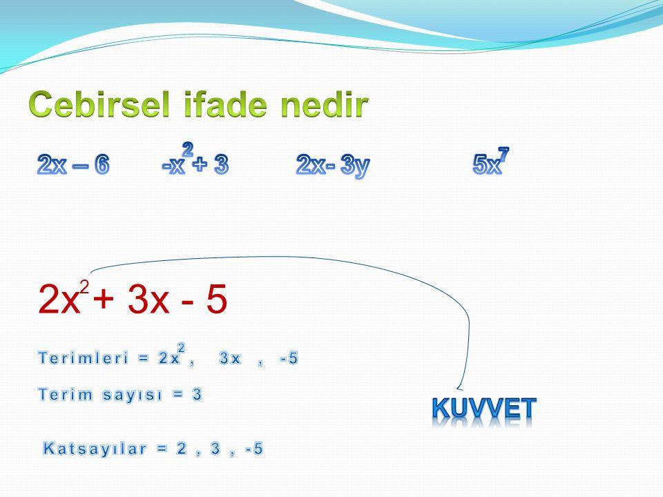 2x + 3x - 5 Cebirsel ifade nedir -x + 3 5x 2x – 6 2x- 3y Kuvvet 2 7 2