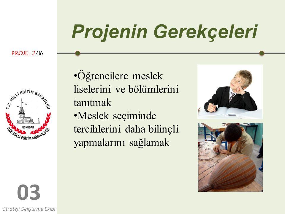 Projenin Gerekçeleri PROJE : 2/16. Öğrencilere meslek liselerini ve bölümlerini tanıtmak.
