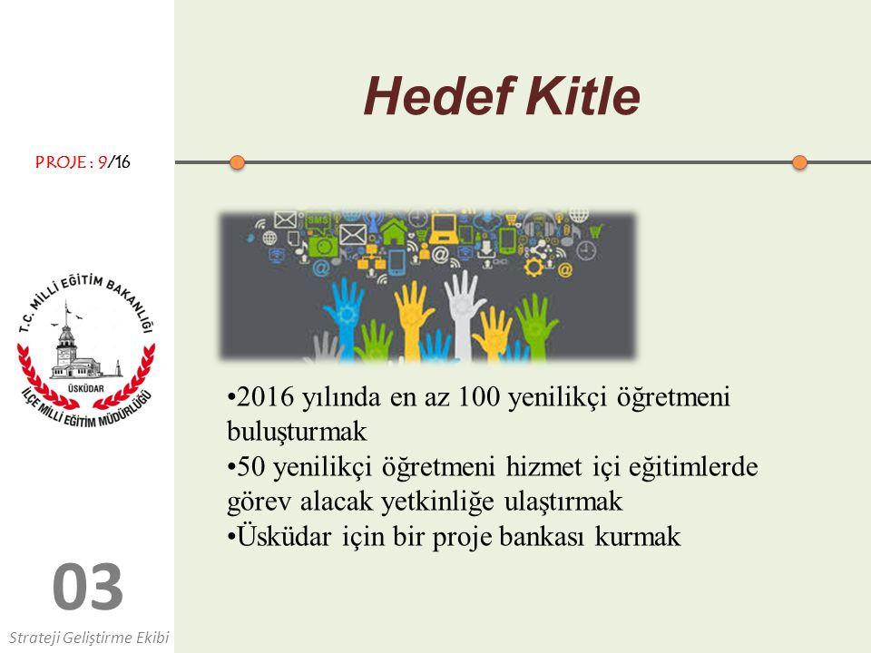 03 Hedef Kitle 2016 yılında en az 100 yenilikçi öğretmeni buluşturmak