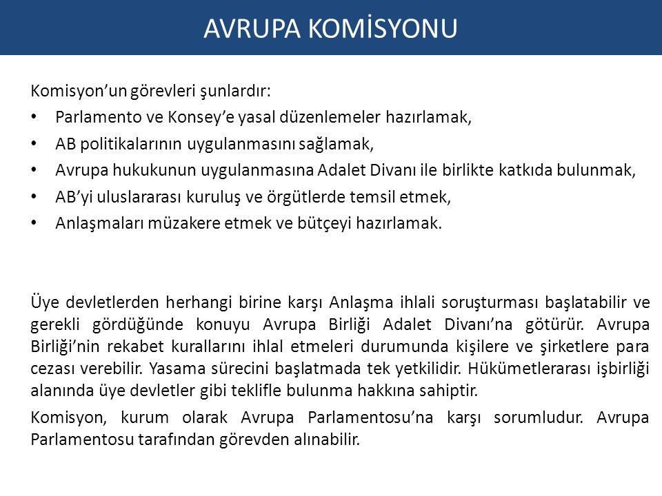 AVRUPA KOMİSYONU Komisyon'un görevleri şunlardır: