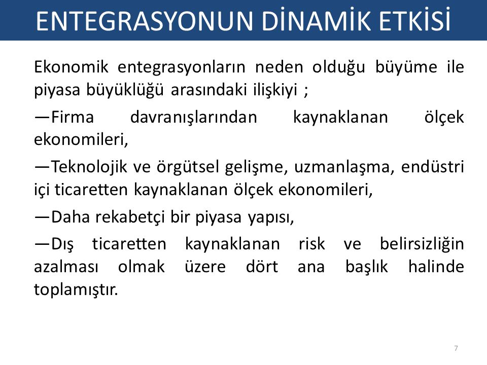 ENTEGRASYONUN DİNAMİK ETKİSİ