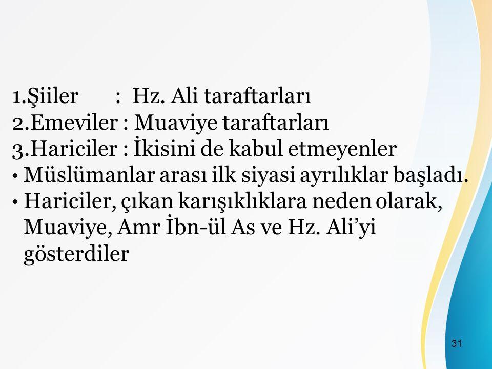 1.Şiiler : Hz. Ali taraftarları