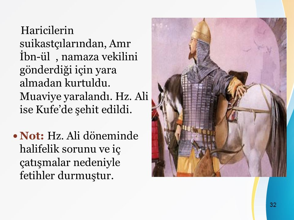 Haricilerin suikastçılarından, Amr İbn-ül , namaza vekilini gönderdiği için yara almadan kurtuldu. Muaviye yaralandı. Hz. Ali ise Kufe'de şehit edildi.