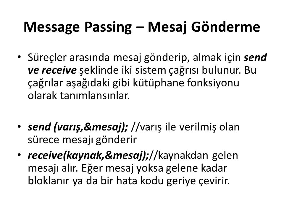 Message Passing – Mesaj Gönderme