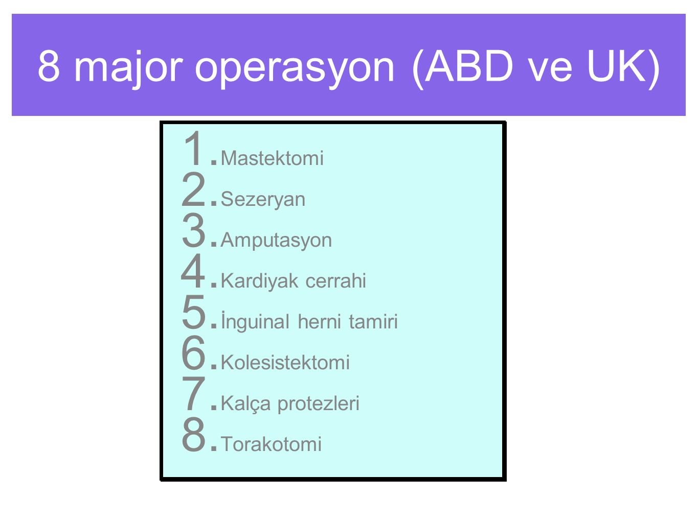 8 major operasyon (ABD ve UK)
