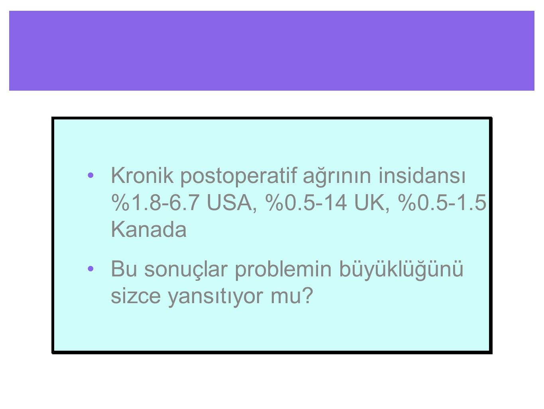 Kronik postoperatif ağrının insidansı %1. 8-6. 7 USA, %0. 5-14 UK, %0