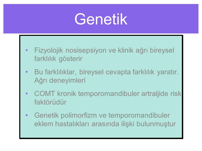 Genetik Fizyolojik nosisepsiyon ve klinik ağrı bireysel farklılık gösterir. Bu farklılıklar, bireysel cevapta farklılık yaratır. Ağrı deneyimleri.