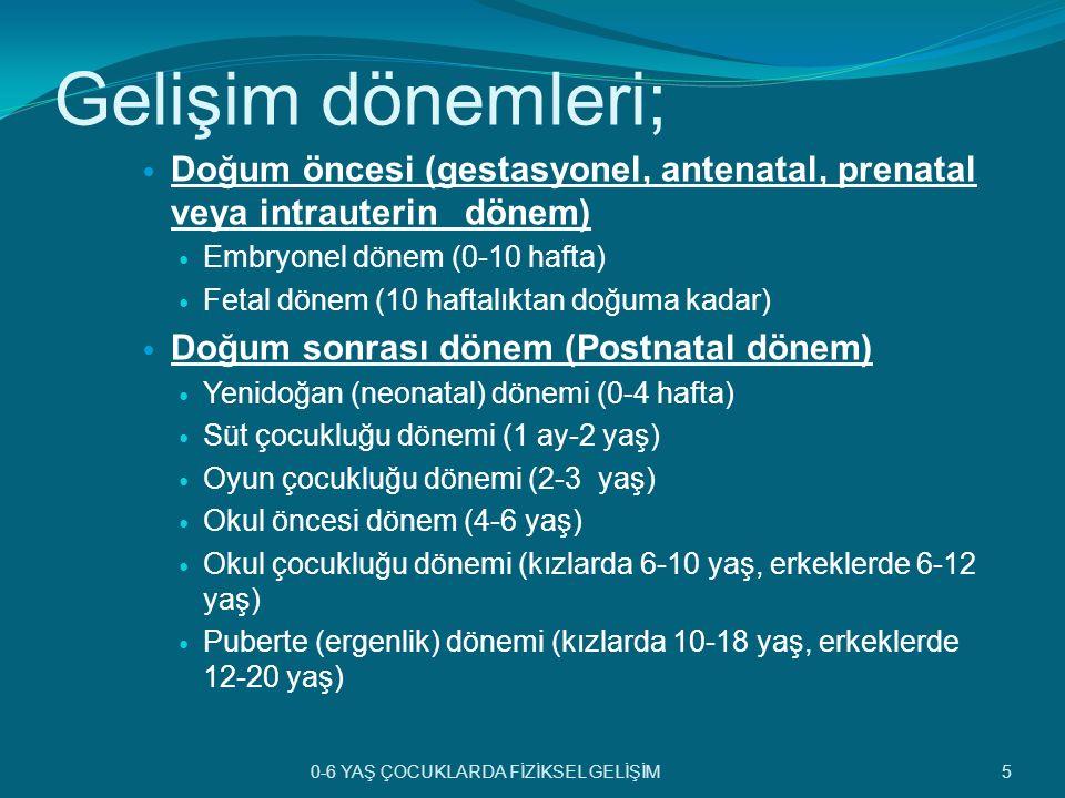 Gelişim dönemleri; Doğum öncesi (gestasyonel, antenatal, prenatal veya intrauterin dönem) Embryonel dönem (0-10 hafta)