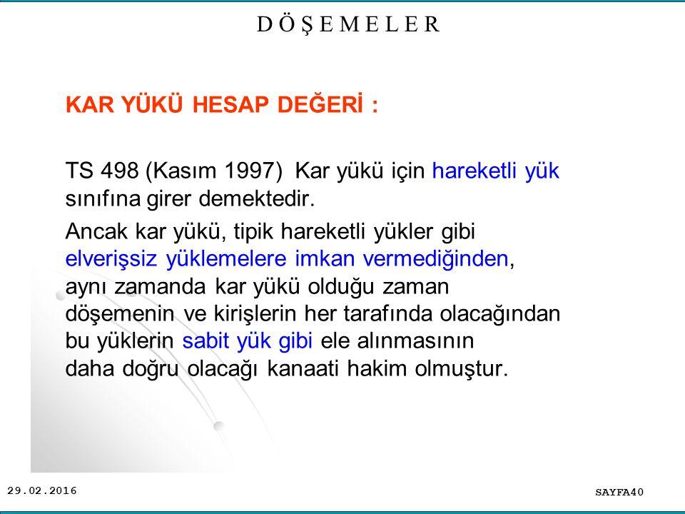 D Ö Ş E M E L E R KAR YÜKÜ HESAP DEĞERİ : TS 498 (Kasım 1997) Kar yükü için hareketli yük sınıfına girer demektedir.