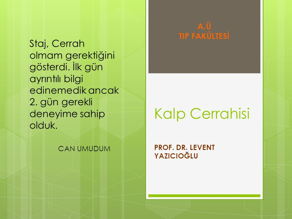 PROF. DR. LEVENT YAZICIOĞLU