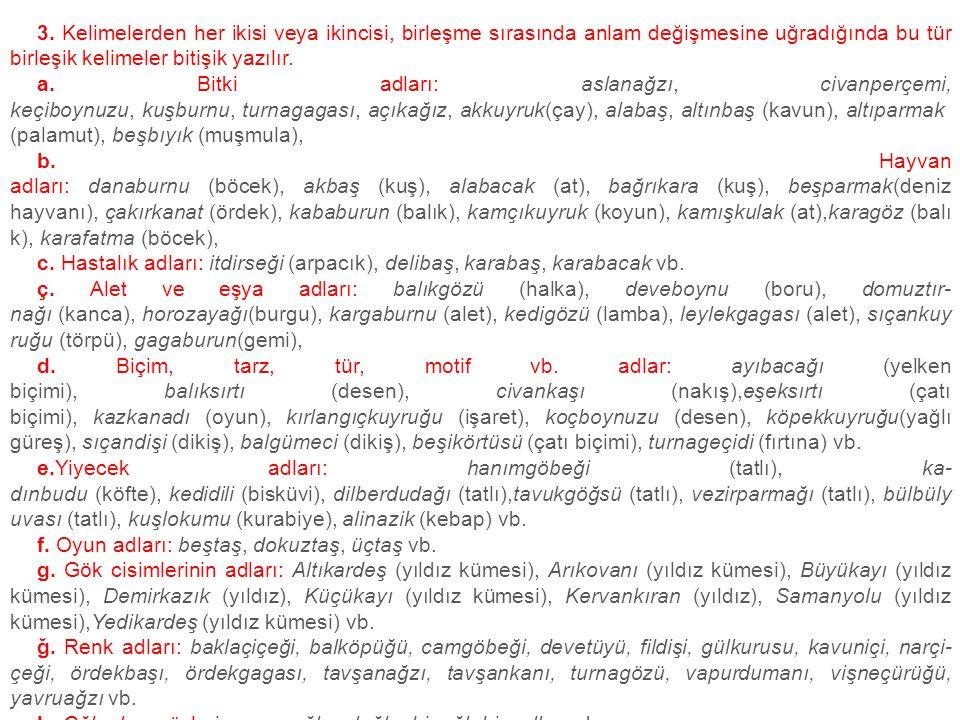 3. Kelimelerden her ikisi veya ikincisi, birleşme sırasında anlam değişmesine uğradığında bu tür birleşik kelimeler bitişik yazılır.