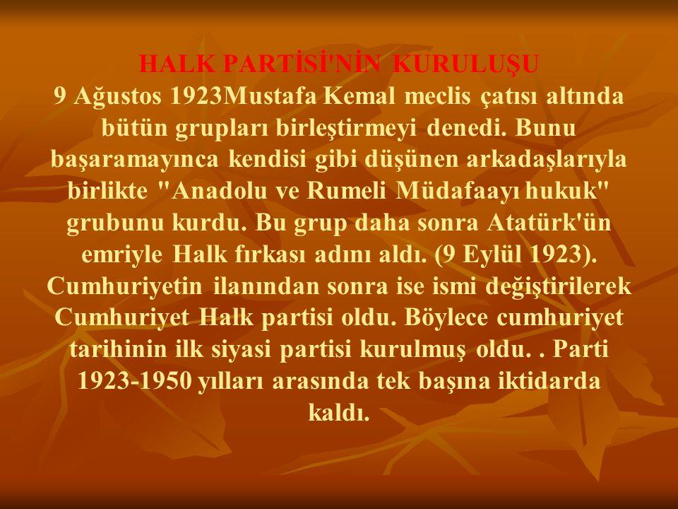 HALK PARTİSİ NİN KURULUŞU 9 Ağustos 1923Mustafa Kemal meclis çatısı altında bütün grupları birleştirmeyi denedi.