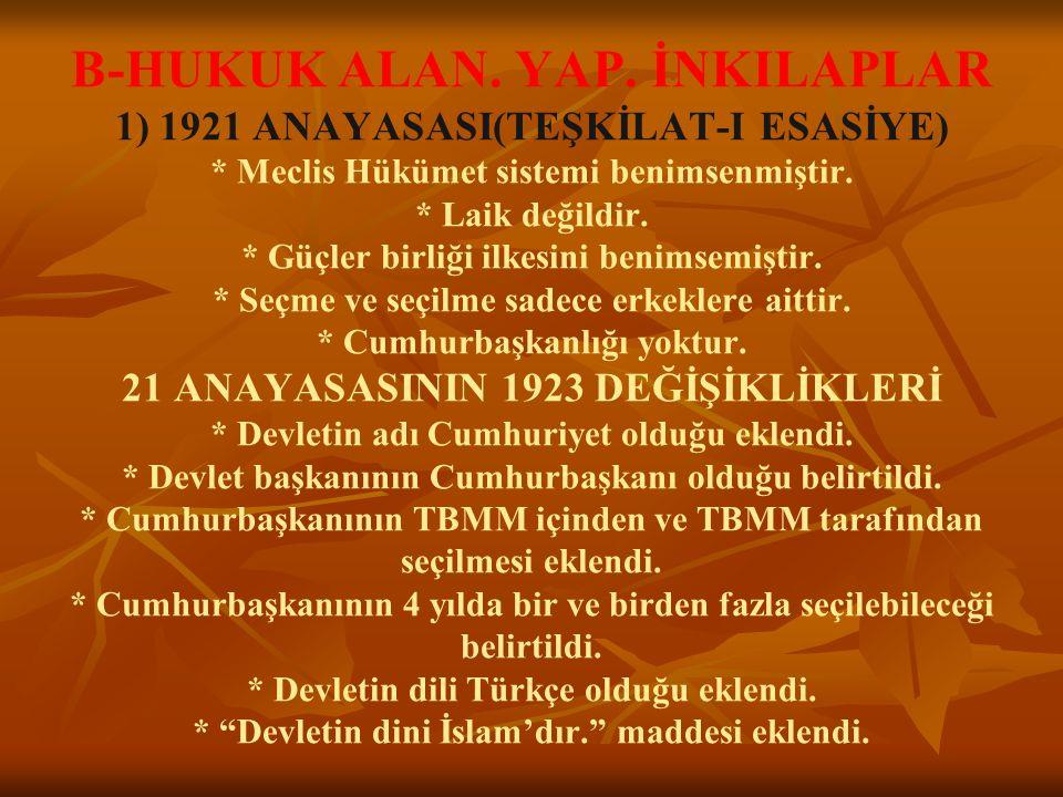 B-HUKUK ALAN. YAP. İNKILAPLAR 1) 1921 ANAYASASI(TEŞKİLAT-I ESASİYE)