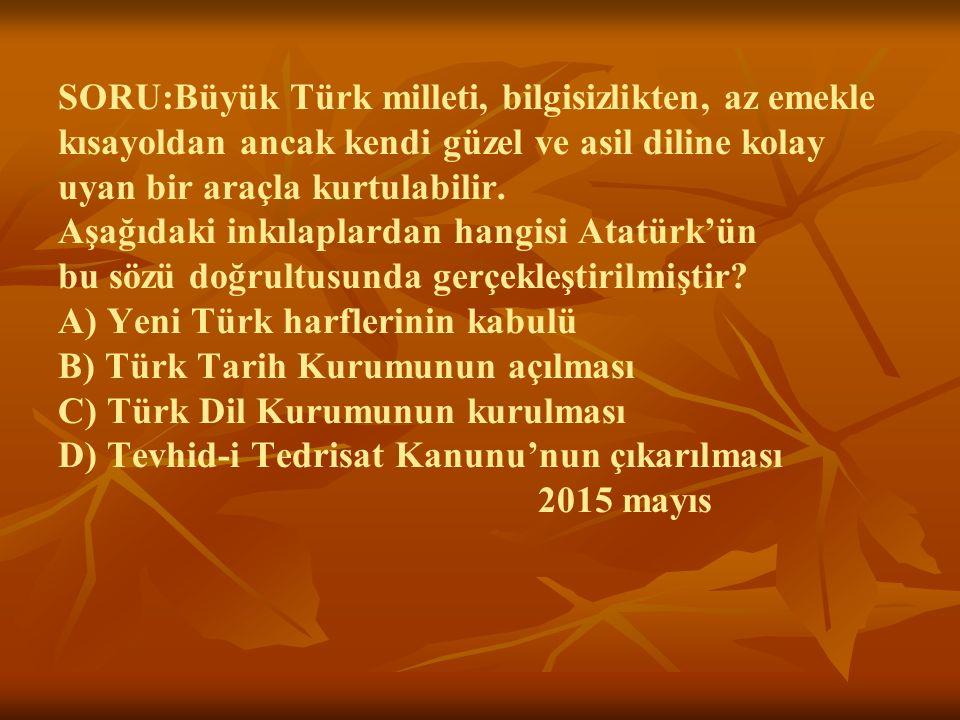 SORU:Büyük Türk milleti, bilgisizlikten, az emekle kısayoldan ancak kendi güzel ve asil diline kolay uyan bir araçla kurtulabilir.