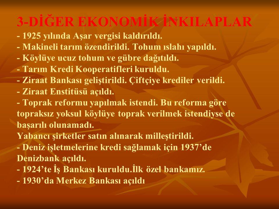 3-DİĞER EKONOMİK İNKILAPLAR - 1925 yılında Aşar vergisi kaldırıldı