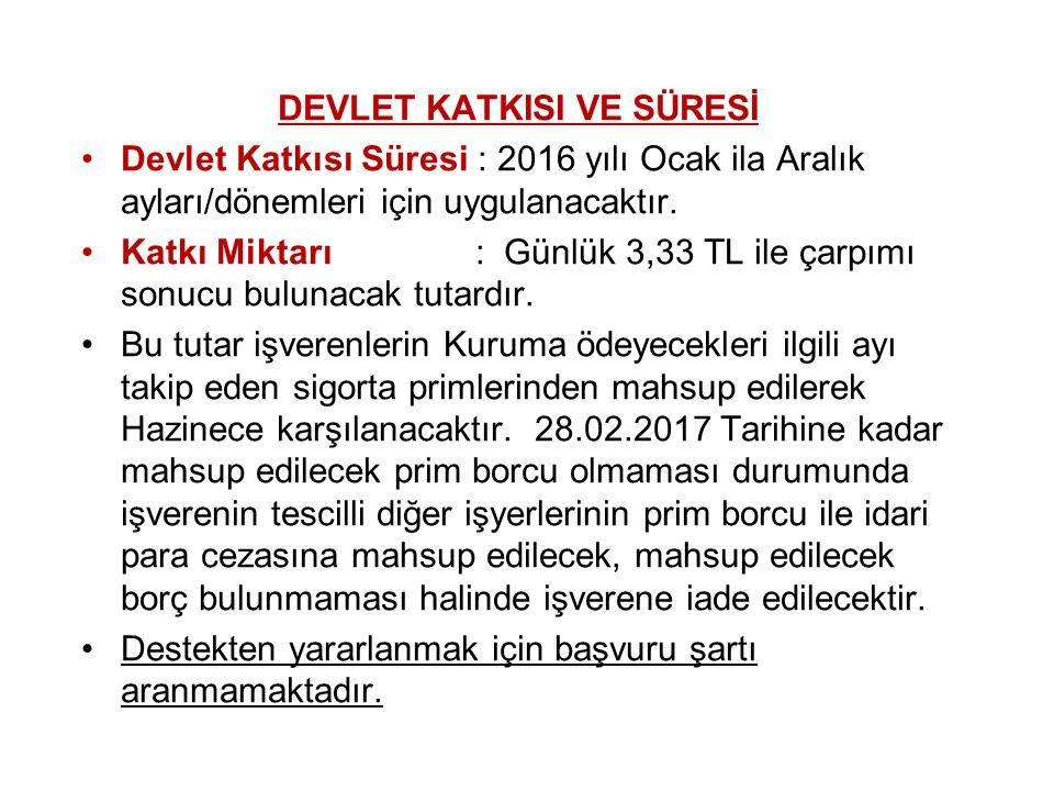DEVLET KATKISI VE SÜRESİ