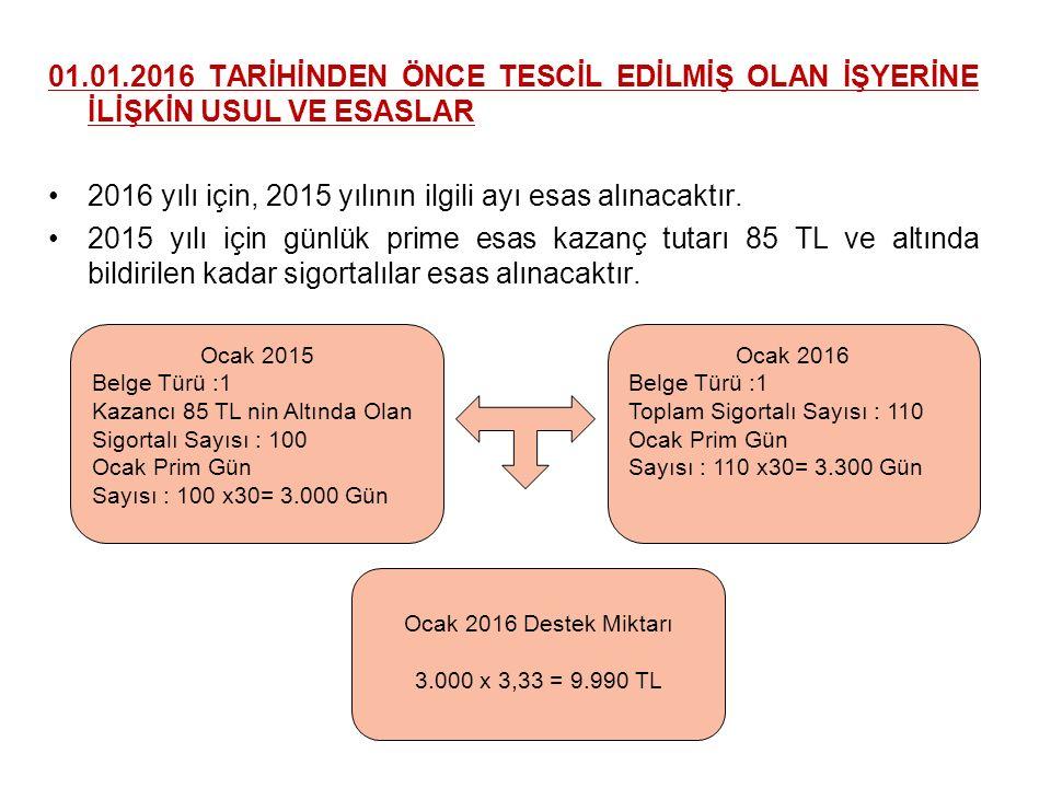 2016 yılı için, 2015 yılının ilgili ayı esas alınacaktır.
